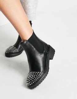 London Rebel - Klobige Ankle-Boots mit Nieten-Schwarz