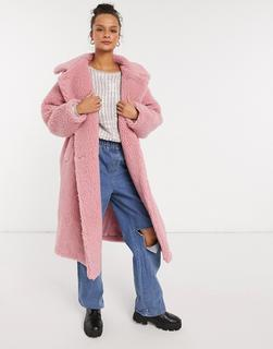 Monki - Teddymantel in Rosa