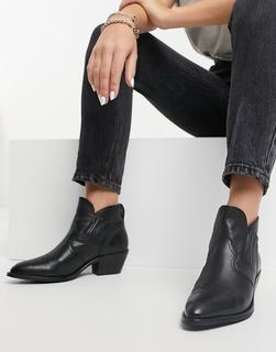 AllSaints - Weiz – Cowboy Ankle-Boots aus Leder in Schwarz