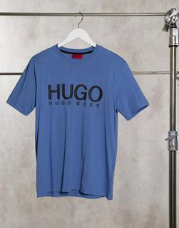HUGO - Dolive – Blaues T-Shirt mit großem Logo