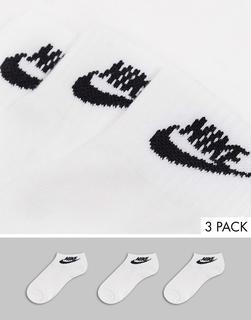 Nike - Futura Swoosh – Knöchelhohe Socken in Weiß und Schwarz, 3er-Pack