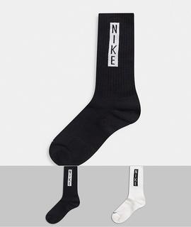 Nike - Socken mit Logo in Schwarz/Weiß, 2er-Pack