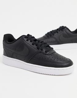 Nike - Court Vision – Niedrige Sneaker in Weiß und Schwarz-Blau