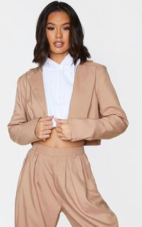 PrettyLittleThing - Sand Button Front Cropped Blazer, Sand