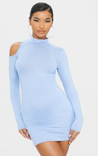 PrettyLittleThing - Blue Jersey Shoulder Detail High Neck Long Sleeve Bodycon Dress, Blue