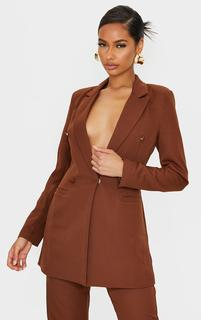 PrettyLittleThing - Chocolate Brown Double Breasted Woven Blazer, Chocolate Brown