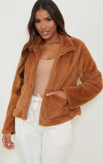 PrettyLittleThing - Brown Faux Fur Pocket Jacket, Brown