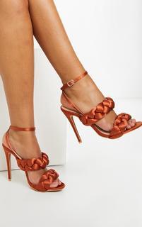 PrettyLittleThing - Rust Satin Chunky Plaited High Heels, Orange