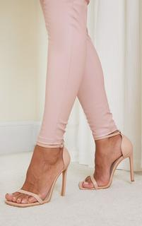PrettyLittleThing - Nude PU Barely There Strappy Heeled Sandals, Pink
