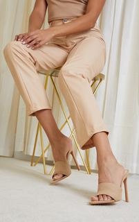 PrettyLittleThing - Sand Faux Suede Strap Point Toe High Heels, Sand