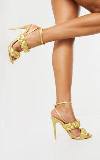 PrettyLittleThing - Gold Satin Chunky Plaited High Heels, Yellow