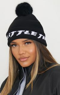 PrettyLittleThing - Black Slogan Pom Pom Beanie, Black