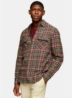 Topman - Mens Brown Highlight Check Slim Shirt, Brown