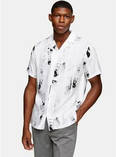 Topman - Mens Black And White Stripe Floral Slim Shirt, Black