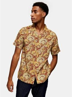 Topman - Mens Red Paisley Floral Print Slim Shirt, Red