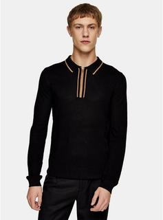 Topman - Mens Black Tipped Knitted Polo, Black