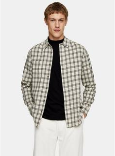 Topman - Mens Brown Ecru Check Slim Shirt, Brown