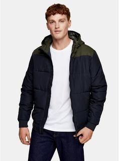 Only & Sons - Mens Only & Sons Navy Block Padded Puffer Jacket, Navy