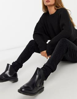 Object - Strukturierte Leggings in Schwarz