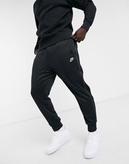 Nike - Repeat Pack – Polyknit-Jogginghose in Schwarz mit Logoband und Bündchen