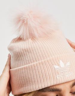 adidas Originals - Rosa Strickmütze mit Logo und Bommel aus Kunstpelz