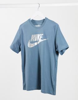 Nike - Futura – Stahlblaues T-Shirt mit Folien-Logo