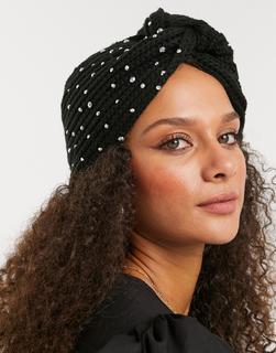 My Accessories - London – Strick-Haarband mit Strasssteinen in Schwarz