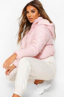 boohoo - Womens Petite Kurzmantel Mit Kapuze In Hochglanzoptik - Pale Pink - 32, Pale Pink
