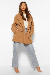 boohoo - Womens Double Breasted Faux Teddy Fur Coat - Camel - 38, Camel