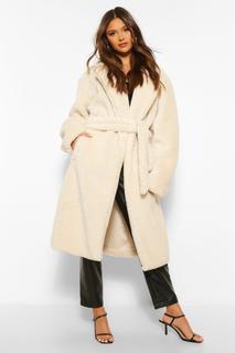 boohoo - Womens Faux Teddy Fur Belted Coat - Cream - 36, Cream