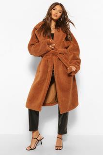 boohoo - Womens Faux Teddy Fur Belted Coat - Chocolate - 38, Chocolate