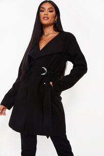 boohoo - Womens Mantel In Wolloptik Mit Gürtel - Schwarz - L, Schwarz