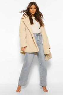 boohoo - Womens Double Breasted Faux Teddy Fur Coat - Stone - 38, Stone