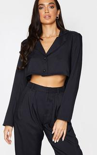 PrettyLittleThing - Black Button Front Cropped Blazer, Black