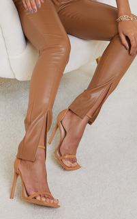 PrettyLittleThing - Tan PU Barely There Strappy Heeled Sandals, Brown