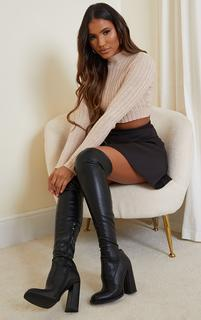 PrettyLittleThing - Black PU Edge High Heeled Over The Knee Boots, Black