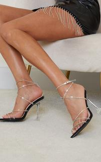 PrettyLittleThing - Black Clear Diamante Strappy Detail Pointed Toe Cake Stand High Heels, Black