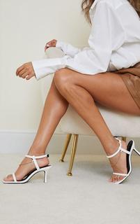 PrettyLittleThing - White PU Tubular Strap Chain Trim Kitten Heeled Sandals, White