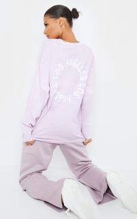 PrettyLittleThing - Mauve LA Oversized Long Sleeve T Shirt, Purple