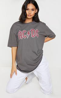 PrettyLittleThing - Charcoal Acdc Printed T Shirt, Grey