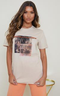 PrettyLittleThing - Stone Burnout Print T Shirt, White