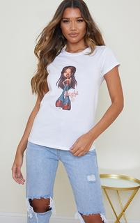PrettyLittleThing - White Sasha Bratz Fitted T Shirt, White