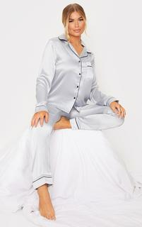 PrettyLittleThing - Ice Blue Satin Pocket Long PJ Set, Blue