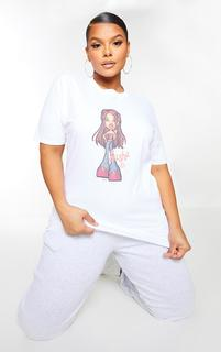 PrettyLittleThing - Plus White Sasha Bratz T Shirt, White