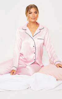 PrettyLittleThing - Pink Satin Pocket Long PJ Set, Pink