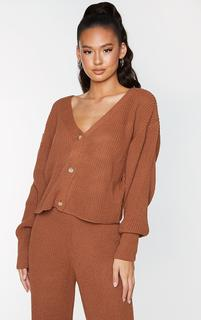 PrettyLittleThing - Rust Button Down Balloon Sleeve Knitted Cardigan, Orange