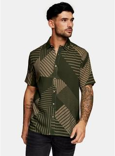 Topman - Mens Multi Sketch Lines Print Slim Shirt, Multi