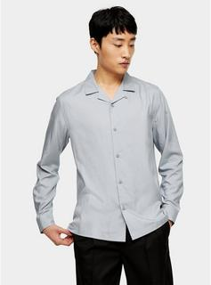 Topman - Mens Grey Revere Shirt, Grey
