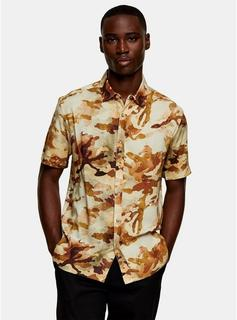 Topman - Mens Green Camouflage Print Slim Shirt, Green