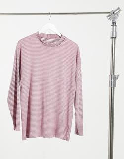 "Free People - Gestreiftes Tunika-Oberteil ""Be Free"" in Rosa-Grau"